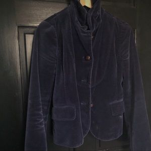 J crew velvet jacket blazer navy blue 0/2